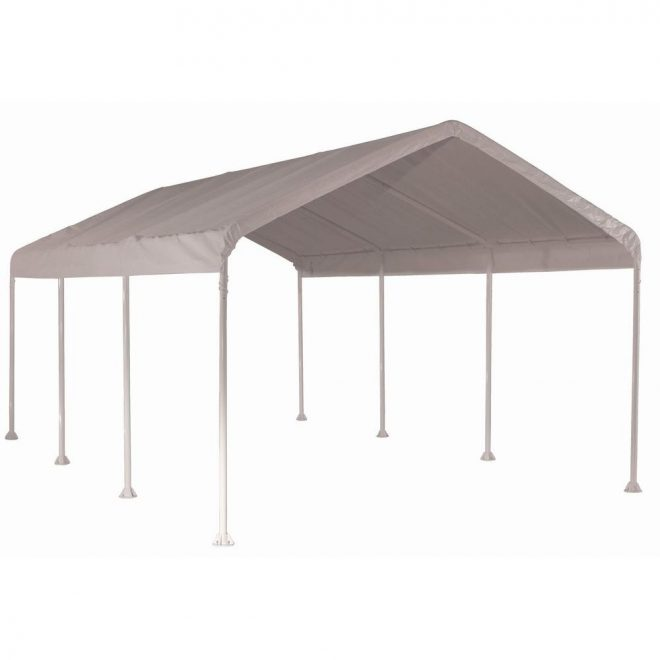 shelterlogic 10 ft w x 20 ft d supermax heavy duty 8 leg canopy in white with industrial grade slip fit steel frame