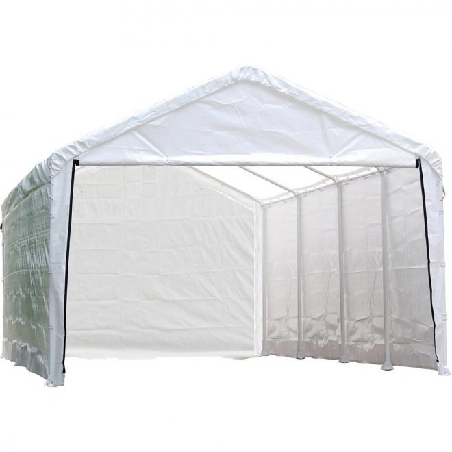 shelterlogic 12 ft w x 26 ft h enclosure kit for supermax canopy in white w 100 waterproof seams canopy and frame not included