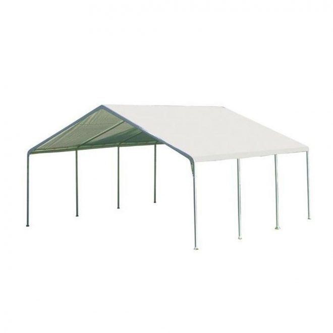 shelterlogic 18 ft w x 20 ft h supermax premium canopy in white with steel frame and patented twist tie tension feature