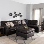 shop baxton studio mario brown leather sectional sofa with ottoman