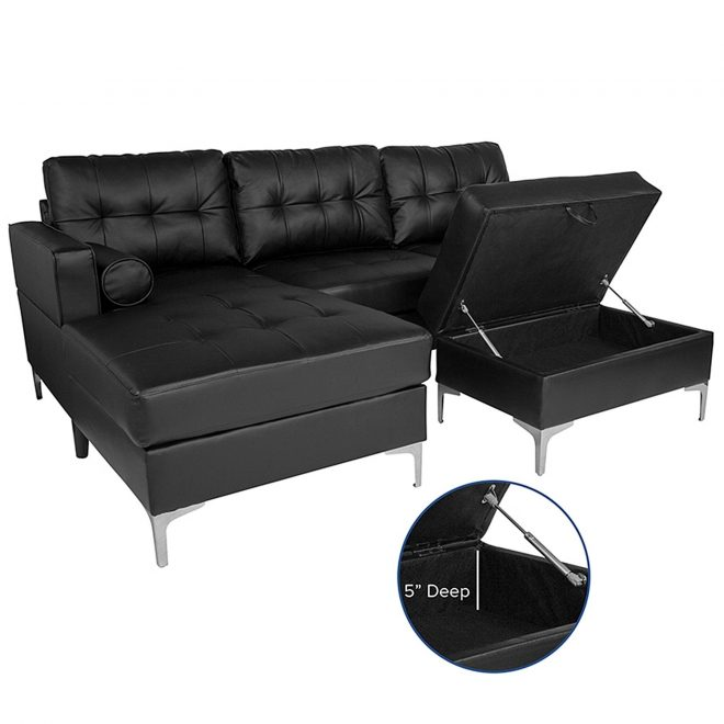 shop bellmore 3 piece black leather sectional sofa with left facing