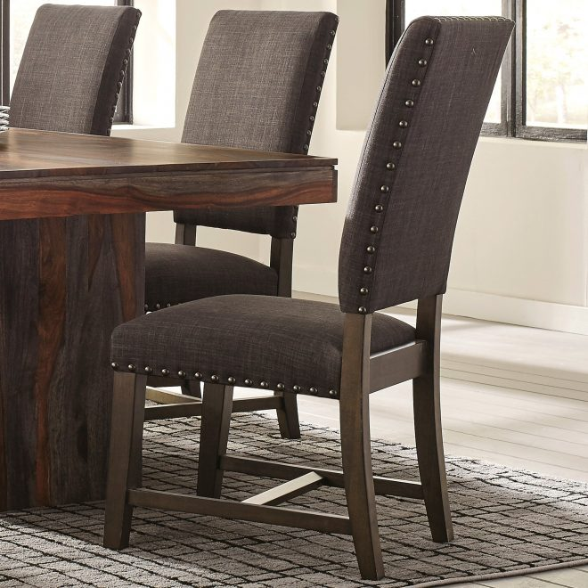 shop casual grey fabric and black finished wood upholstered parsons