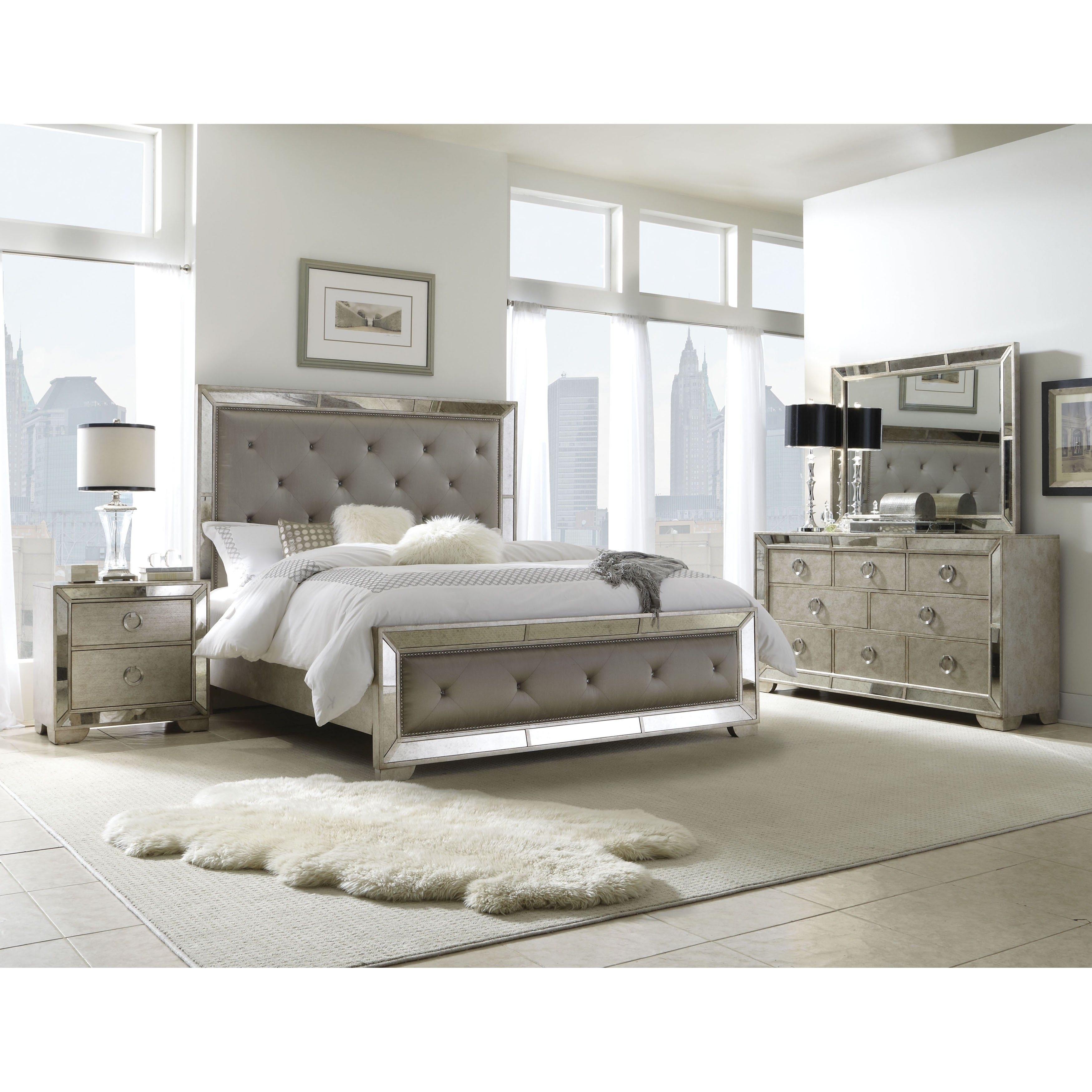 shop celine 5 piece mirrored and upholstered tufted queen size