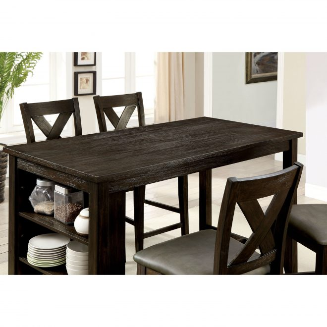 shop desmond farmhouse dark walnut counter height dining table
