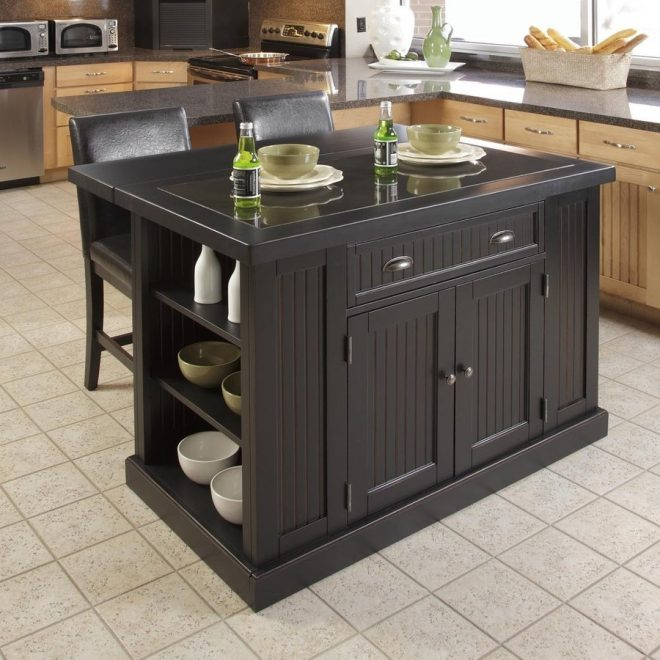 shop home styles black midcentury kitchen islands at lowes