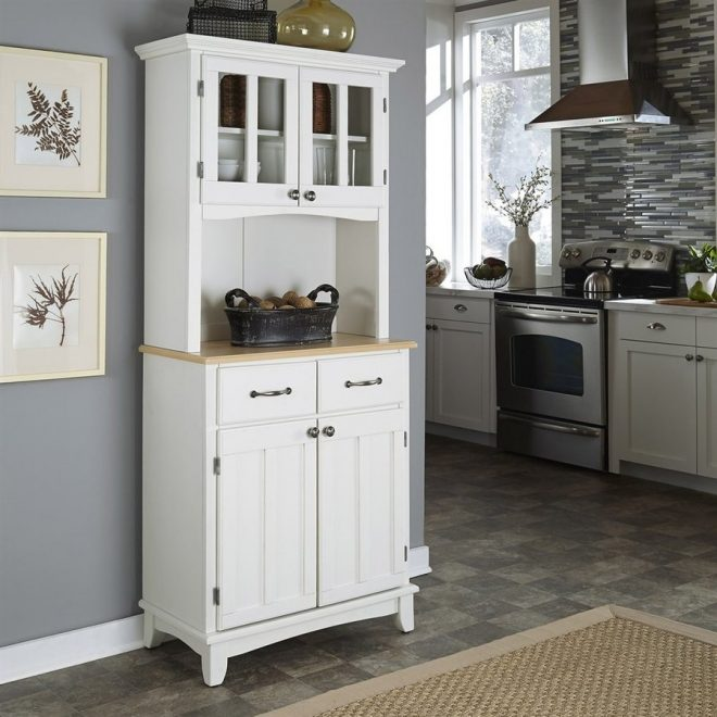 shop home styles whitenatural wood kitchen hutch at lowes