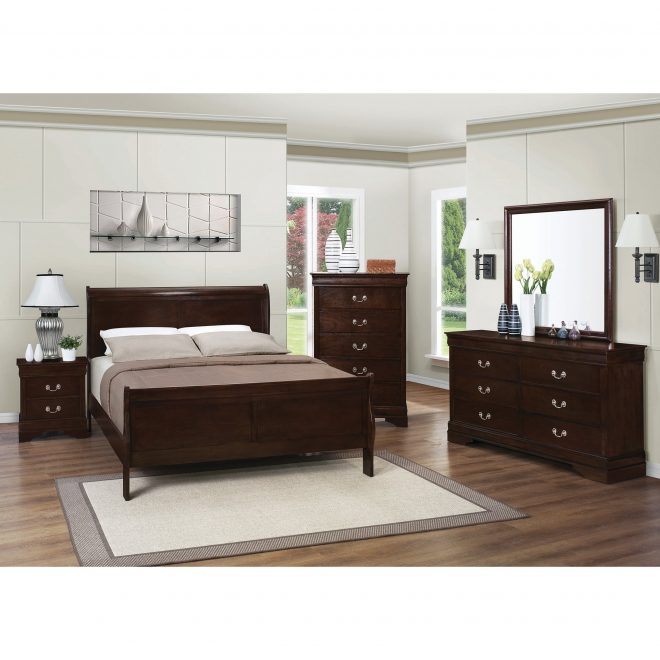shop louis philippe warm brown 4 piece bedroom set on sale free