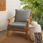 shop sunbrella charcoal grey with ivory indoor outdoor chair