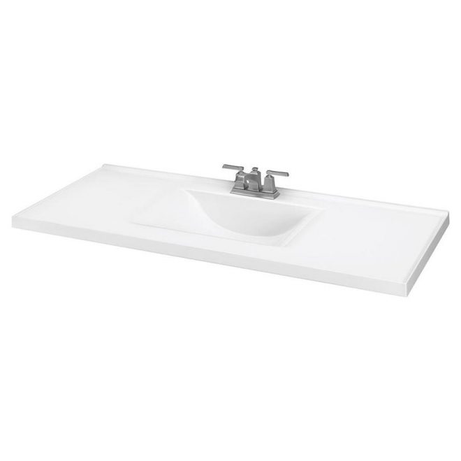 shop white cultured marble integral bathroom vanity top common 49