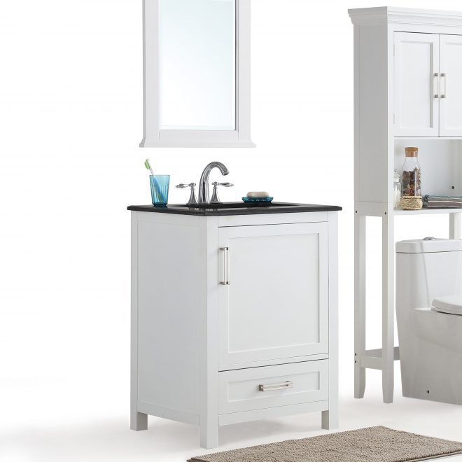 shop wyndenhall jersey white bath vanity with black granite top