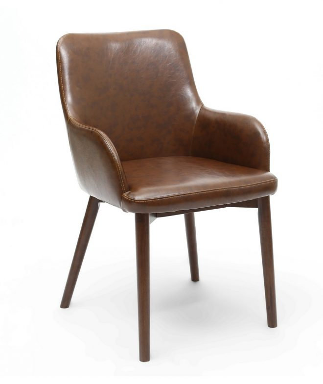sidcup vintage brown faux leather dining chairs dark leg