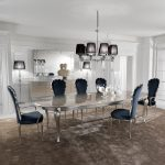 silver leaf dining set including navy blue velvet chairs cheap