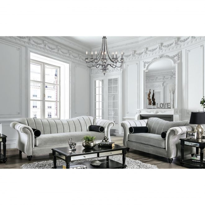 silver orchid bennett pewter 2 piece tufted living room set