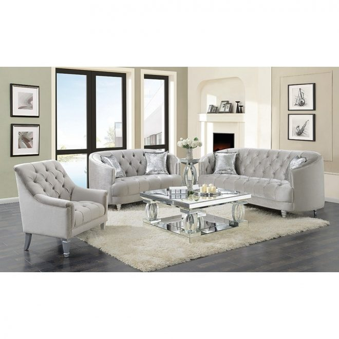 silver orchid ofredericks grey 3 piece tufted living room set