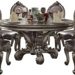 silver pu antique platinum dining table set 5pc acme