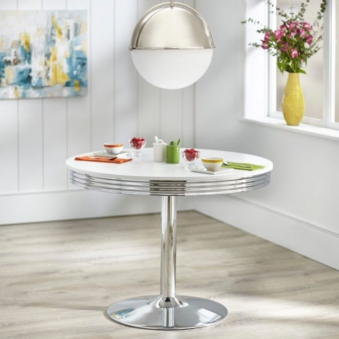 simple living raleigh retro dining table white