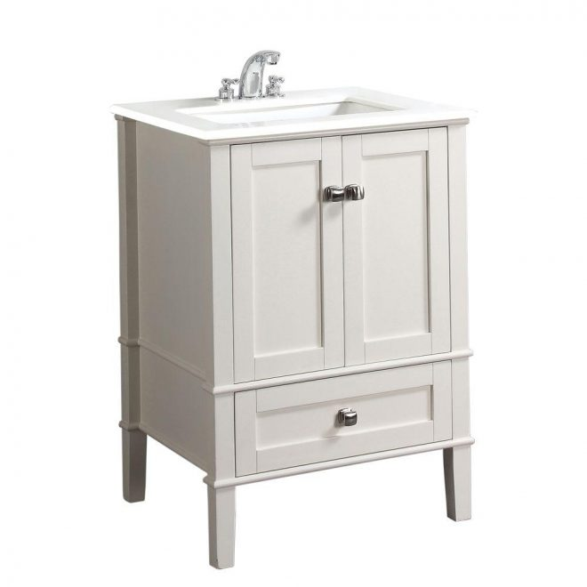 simpli home chelsea 24 in vanity in soft white with quartz marble