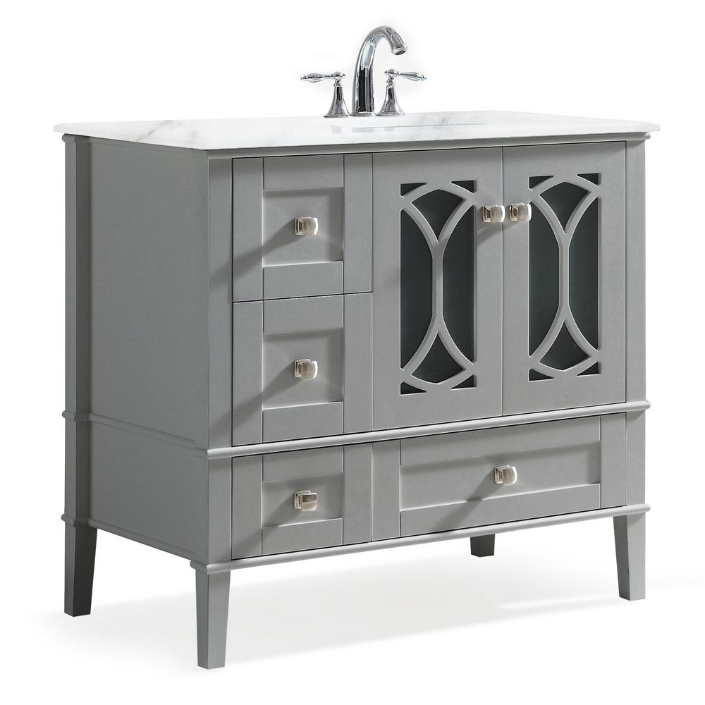 simpli home paige 36 in right offset bath vanity in warm grey with marble extra thick vanity top in white with white basin