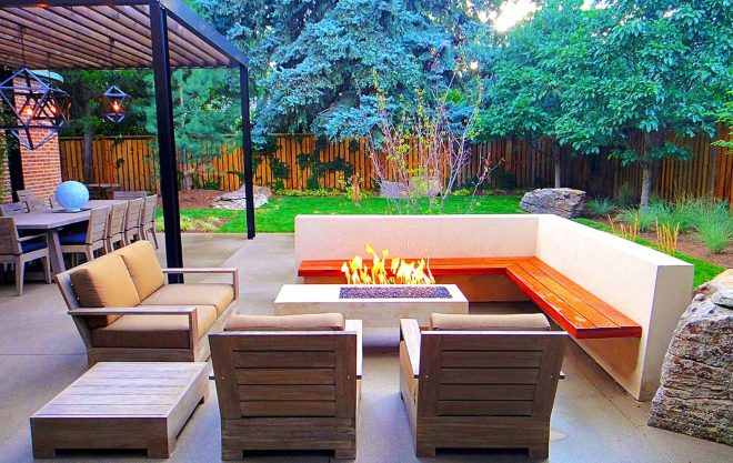 sleek modern outdoor living space in park hill mile high landscaping