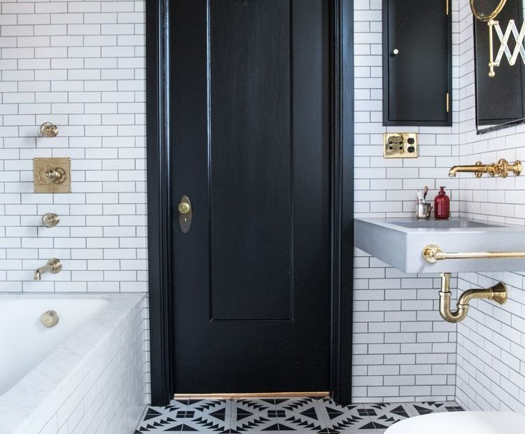 small bathroom ideas in black white brass bathroom