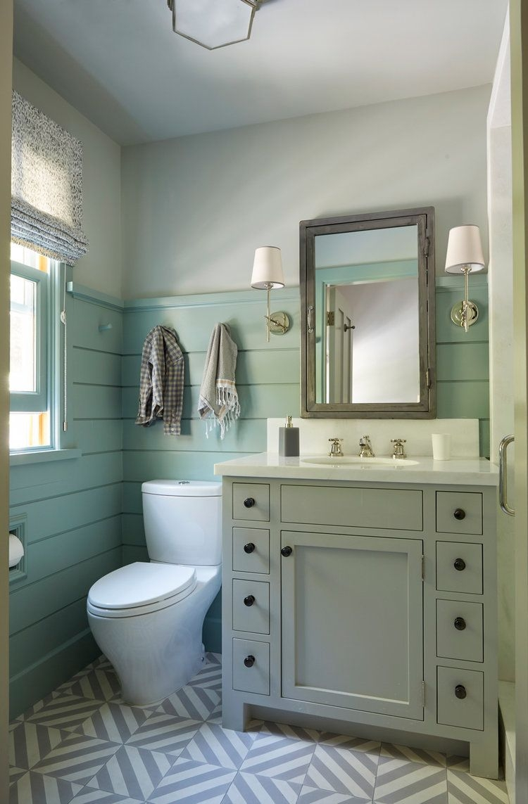 small bathroom mixed patterns shiplap bathrooms cottage