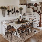 small farmhouse kitchen decorating plan with unique canvas rug under