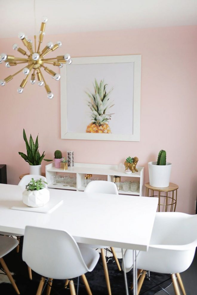 soft pink dining room with white and gold accents in 2019