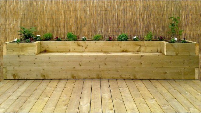 softwood decking raised bed bench