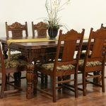 sold english tudor 1920 antique carved oak dining set table 6
