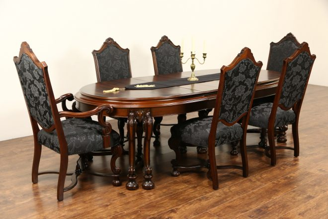 sold renaissance antique dining set table leaves room with
