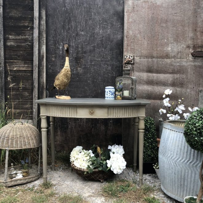 sold swedish gustavian country style grey painted bow fronted console side table