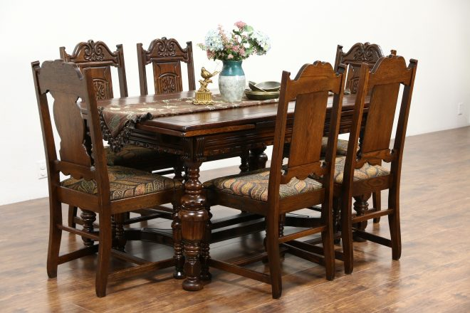 sold tudor 1925 antique carved oak dining set table 6 chairs