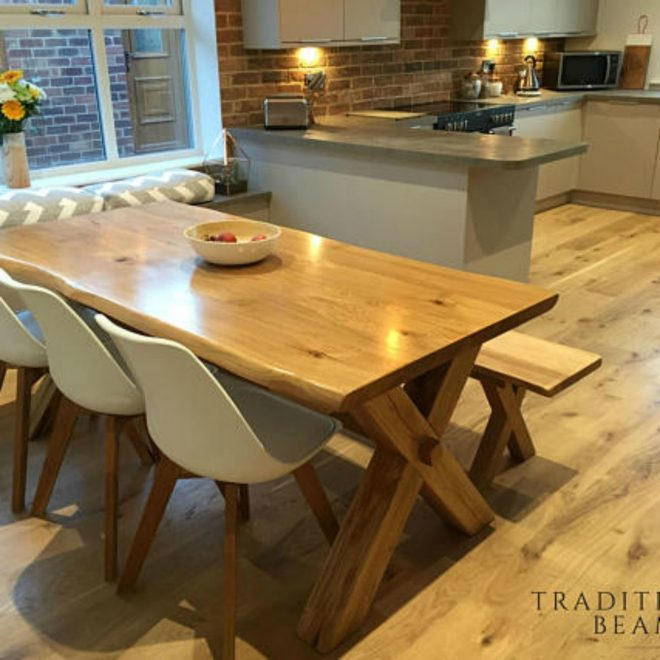 solid oak cross leg dining table with matching bench ad
