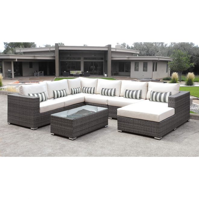 solis lusso 7 piece outdoor sectional grey rattan patio with white cushions and greywhite toss pillow