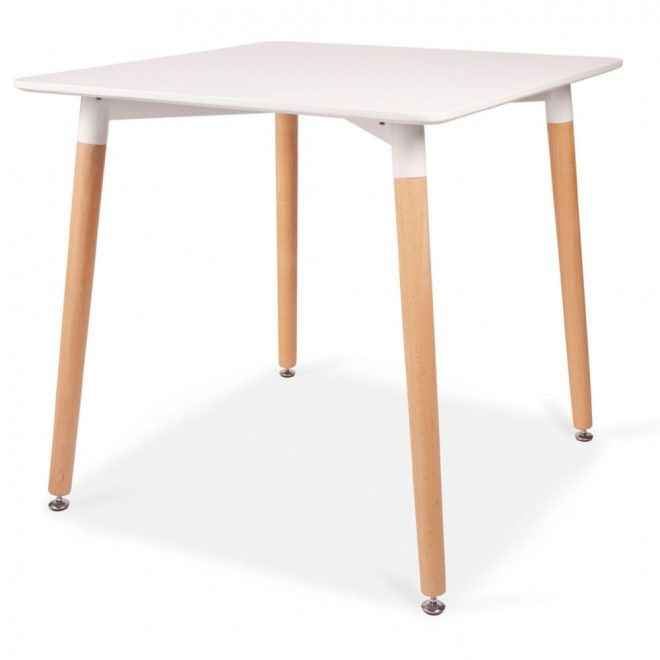 square dining table 80cm 4 seater white