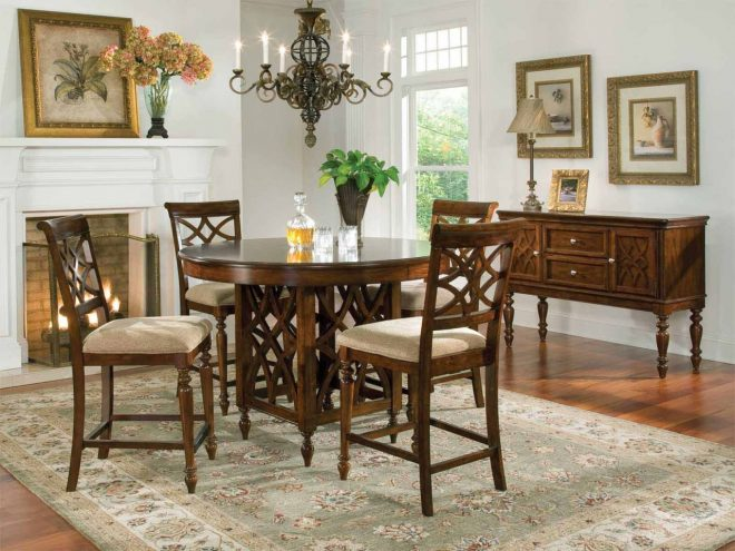 standard furniture woodmont round counter height table set in cherry 19180