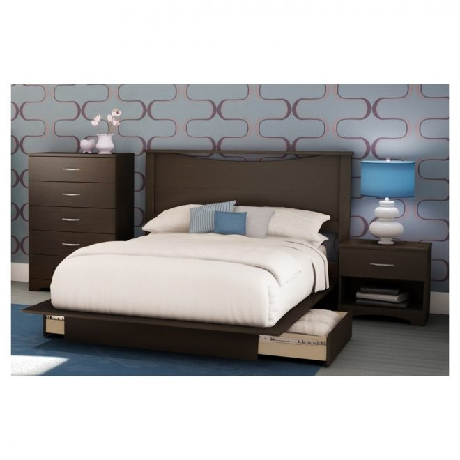 step one platform bed full queen chocolate brown