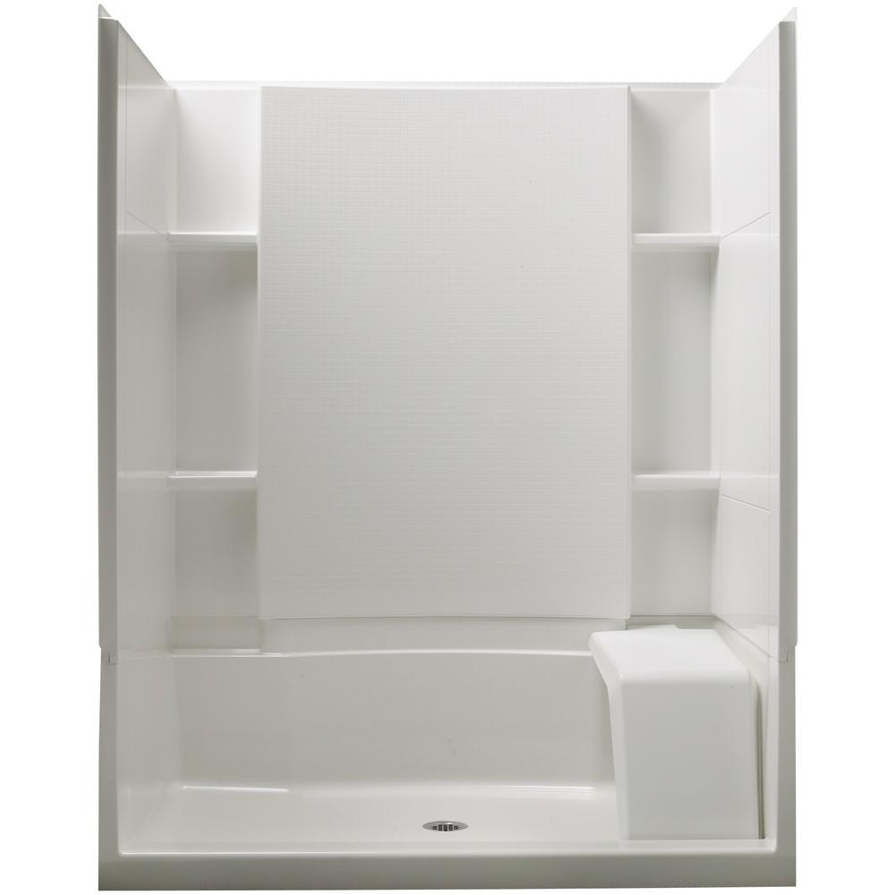 sterling accord 36 in x 60 in x 74 12 in standard fit shower kit with seat in white