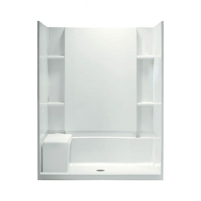 sterling accord seated 36 in x 60 in x 74 12 in shower kit with age in place backers in white