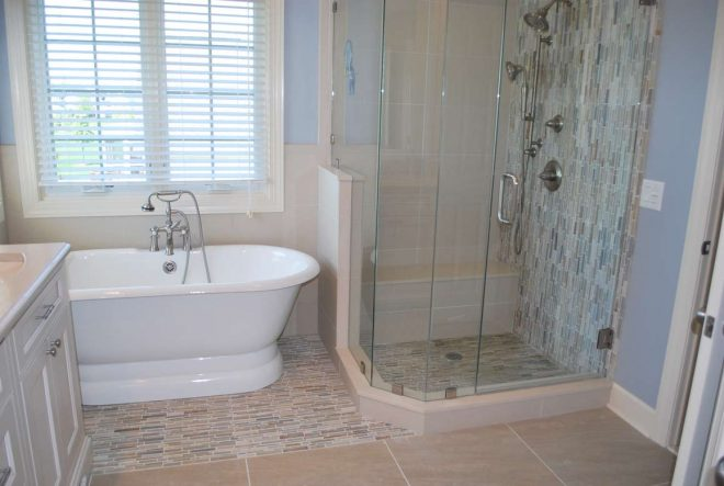 stone waterfall tile bathroom remodel in rochester ny