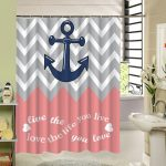 stripe anchor shower curtain pink gray white 3d printing