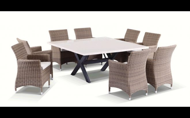 stunning 8 seater square solid stone top dining table half