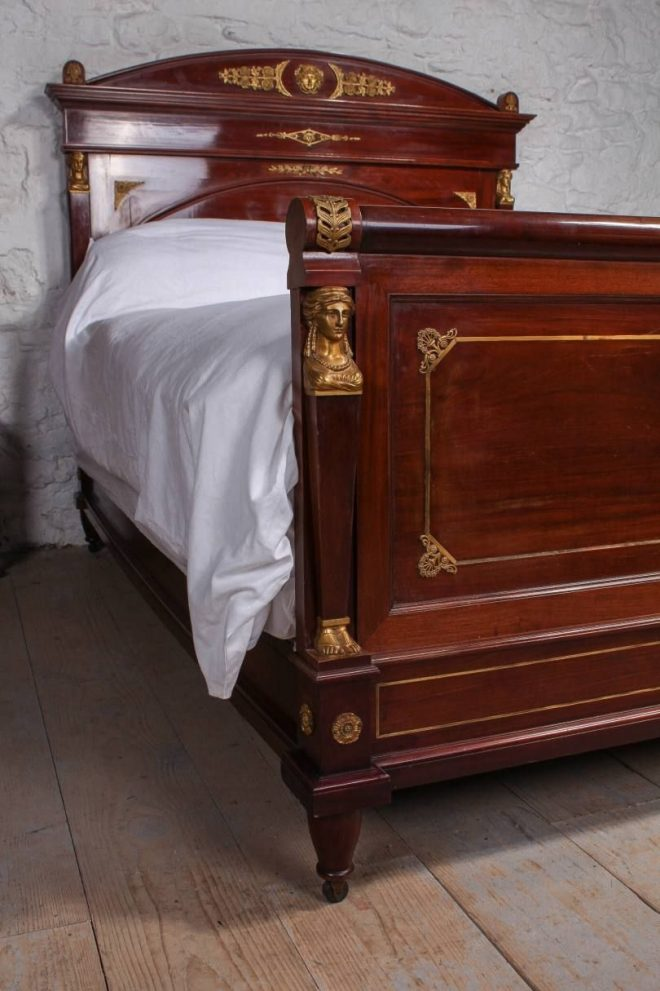 stunning empire style mahogany with brass decoration 5ft