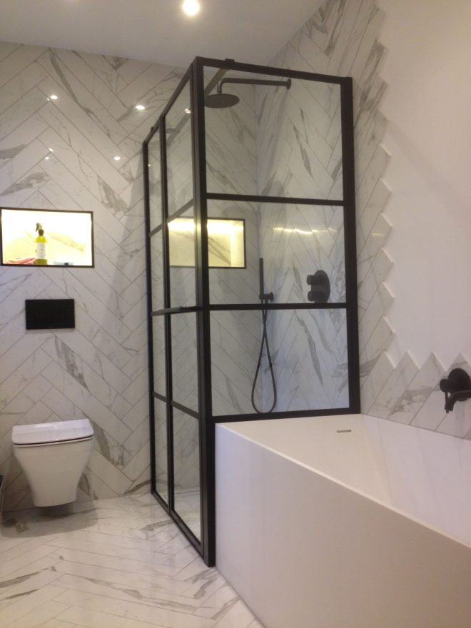 stylish and large black framed grid effect shower enclosure