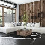 stylish rustic living room with wood paneling on the wall and