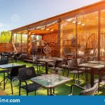 summer empty outdoor cafe at park stock photo image of
