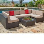 suncrown outdoor patio furniture 7 piece wicker patio sofa set washable seat cushions with ykk zippers and modern glass coffee table waterproof