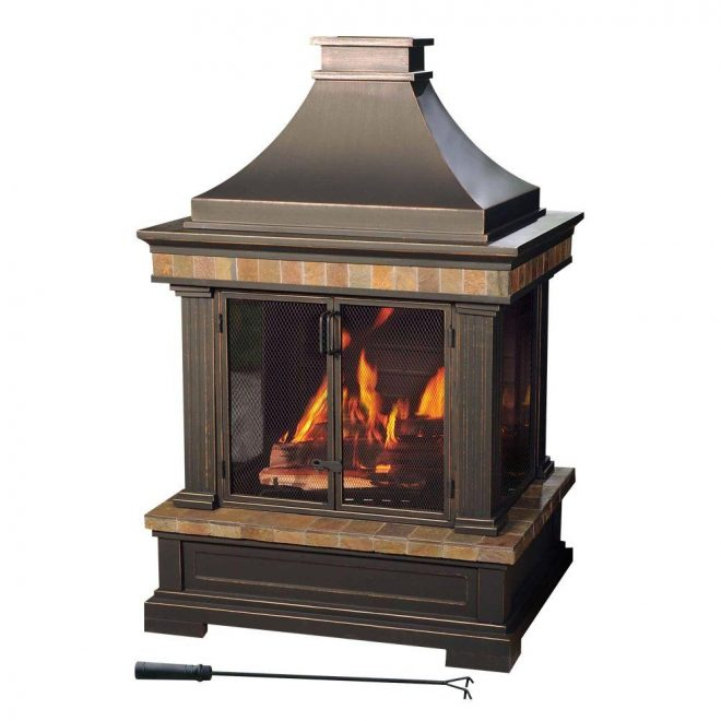 sunjoy amherst 35 in wood burning outdoor fireplace