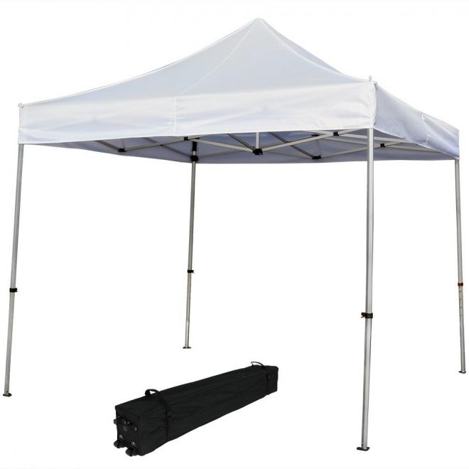 sunnydaze decor 10 ft x 10 ft white heavy duty aluminum straight leg quick up canopy with rolling bag