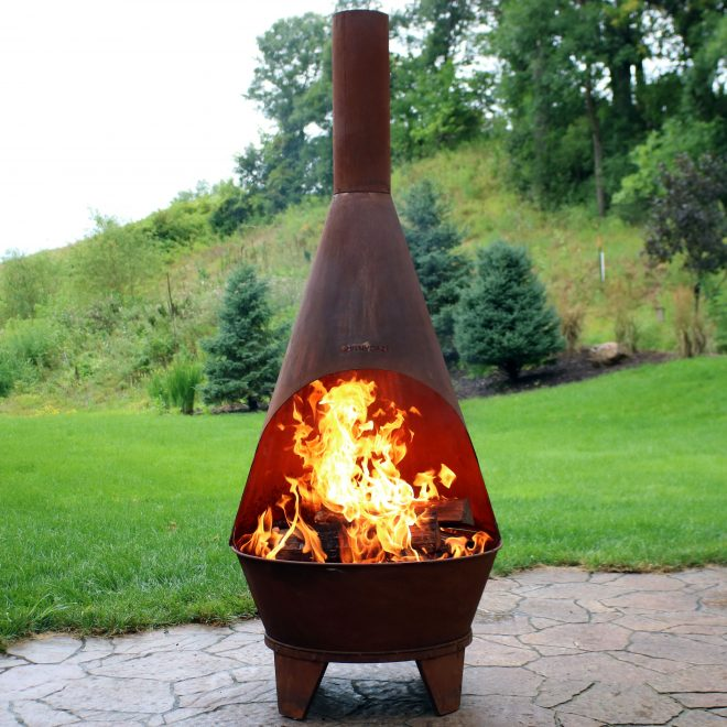 sunnydaze rustic chiminea fire pit outdoor patio wood burning fireplace 6 foot tall